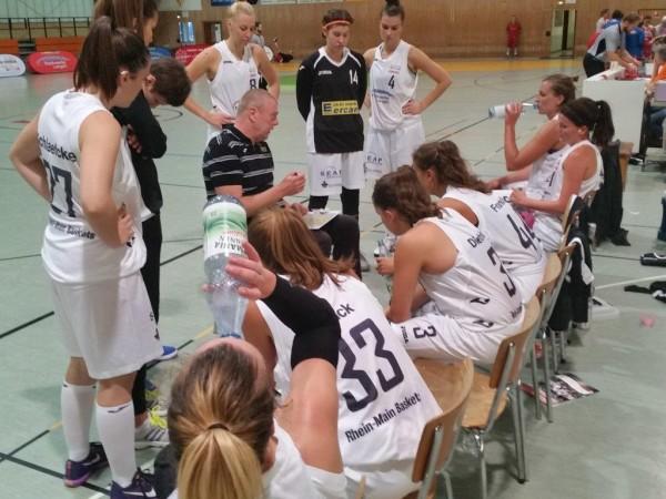 Foto: Pausenansprache von Baskets-Trainer Peter Kortmann